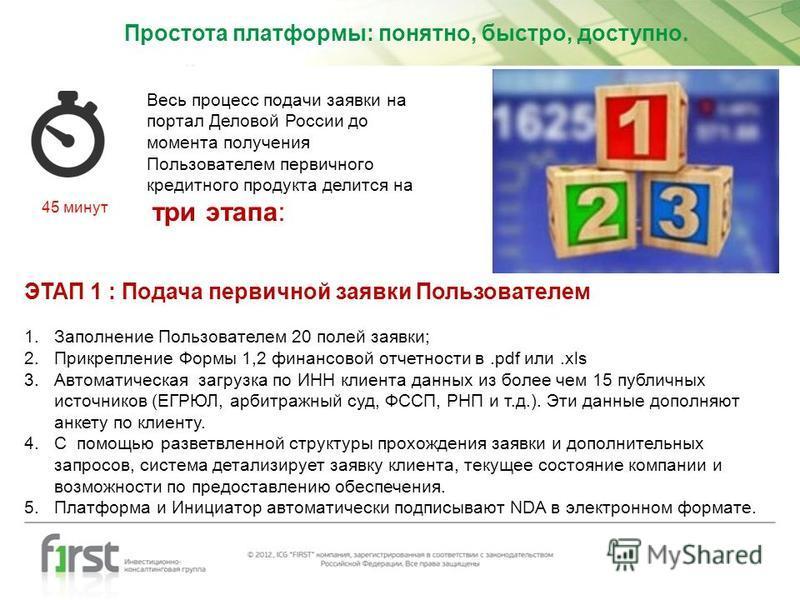 Весь процесс подачи заявки на портал Деловой России до момента получения Пользователем первичного кредитного продукта делится на три этапа: ЭТАП 1 : Подача первичной заявки Пользователем 1. Заполнение Пользователем 20 полей заявки; 2. Прикрепление Фо