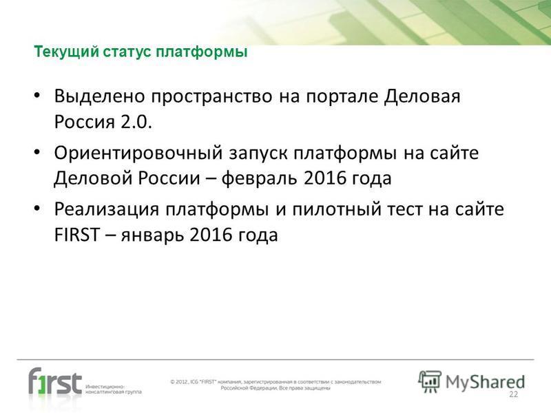 Текущий статус платформы Выделено пространство на портале Деловая Россия 2.0. Ориентировочный запуск платформы на сайте Деловой России – февраль 2016 года Реализация платформы и пилотный тест на сайте FIRST – январь 2016 года 22