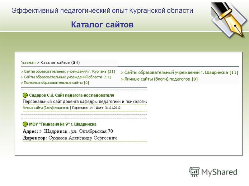 Эффективный педагогический опыт Курганской области Каталог сайтов