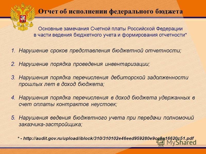 Основные замечания Счетной платы Российской Федерации в части ведения бюджетного учета и формирования отчетности* 1. Нарушение сроков представления бюджетной отчетности; 2. Нарушение порядка проведения инвентаризации; 3. Нарушения порядка перечислени