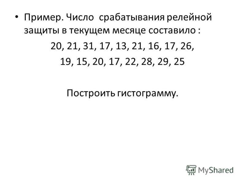 Пример. Число срабатывания релейной защиты в текущем месяце составило : 20, 21, 31, 17, 13, 21, 16, 17, 26, 19, 15, 20, 17, 22, 28, 29, 25 Построить гистограмму.