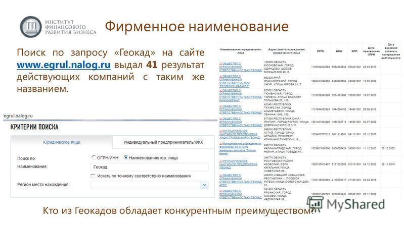 Поиск по запросу «Геокад» на сайте www.egrul.nalog.ru выдал 41 результат действующих компаний с таким же названием. www.egrul.nalog.ru Фирменное наименование Кто из Геокадов обладает конкурентным преимуществом?