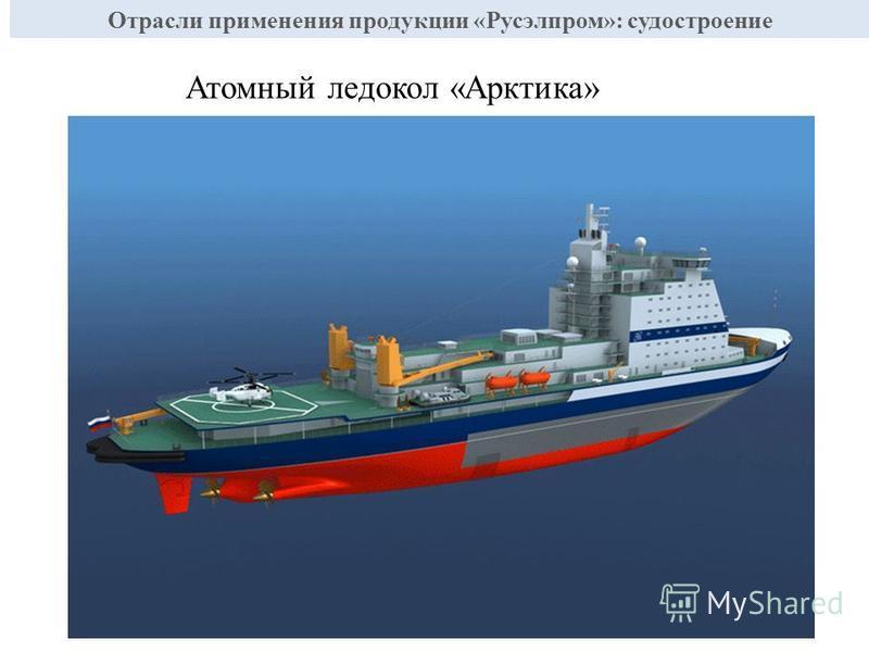 Атомный ледокол «Арктика» Отрасли применения продукции «Русэлпром»: судостроение