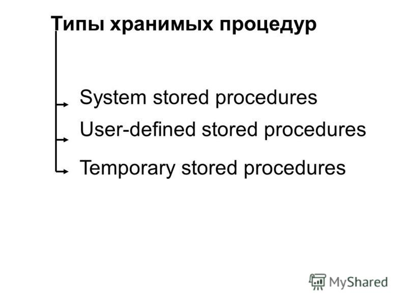 Типы хранимых процедур System stored procedures User-defined stored procedures Temporary stored procedures