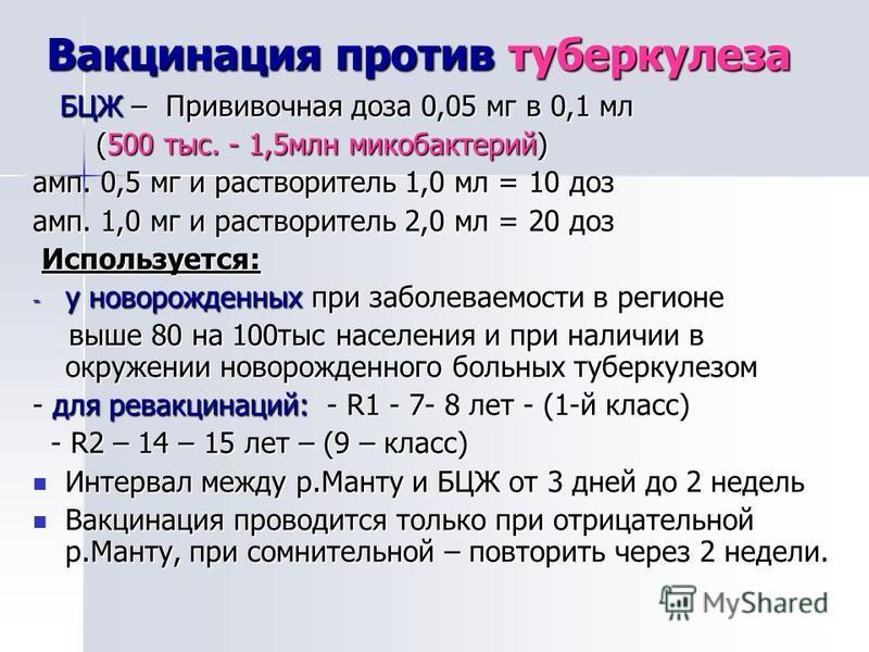 Вакцинация против туберкулеза БЦЖ – Прививочная доза 0,05 мг в 0,1 мл БЦЖ – Прививочная доза 0,05 мг в 0,1 мл (500 тыс. - 1,5 млн микобактерий) (500 тыс. - 1,5 млн микобактерий) амп. 0,5 мг и растворитель 1,0 мл = 10 доз амп. 1,0 мг и растворитель 2,