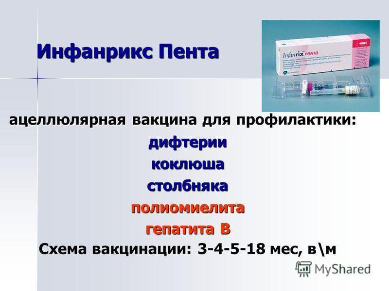 ацеллюлярная вакцина для профилактики: ацеллюлярная вакцина для профилактики:дифтериикоклюшастолбнякаполиомиелита гепатита В Схема вакцинации: 3-4-5-18 мес, в\м Инфанрикс Пента