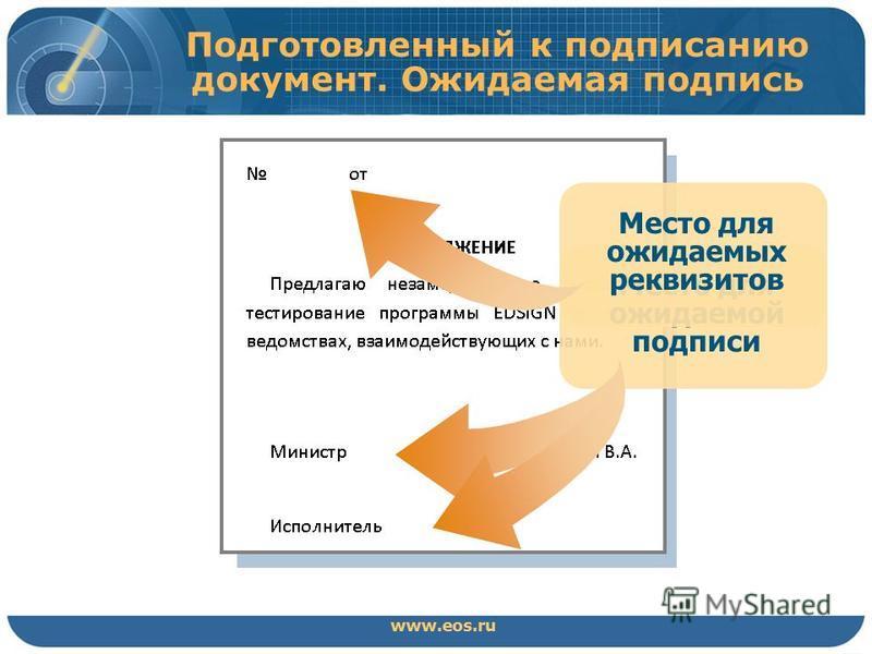 Подготовленный к подписанию документ. Ожидаемая подпись www.eos.ru Место для ожидаемой подписи Место для ожидаемых реквизитов