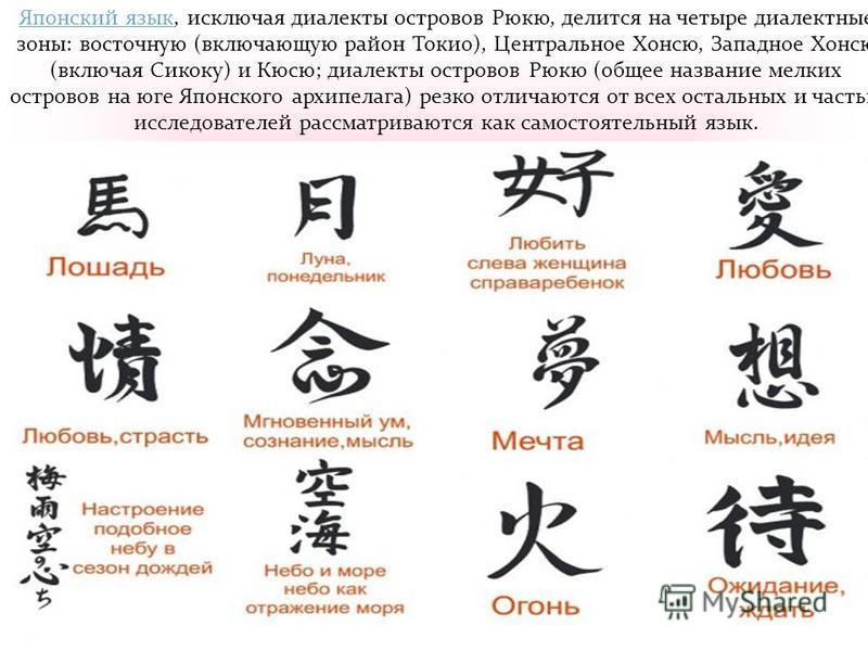 Японский язык Японский язык, исключая диалекты островов Рюкю, делится на четыре диалектные зоны: восточную (включающую район Токио), Центральное Хонсю, Западное Хонсю (включая Сикоку) и Кюсю; диалекты островов Рюкю (общее название мелких островов на