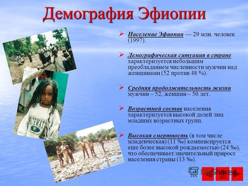 Демография Эфиопии Население Эфиопии 29 млн. человек (1997). Демографическая ситуация в стране характеризуется небольшим преобладанием численности мужчин над женщинами (52 против 48 %). Средняя продолжительность жизни мужчин – 52, женщин – 50 лет. Во