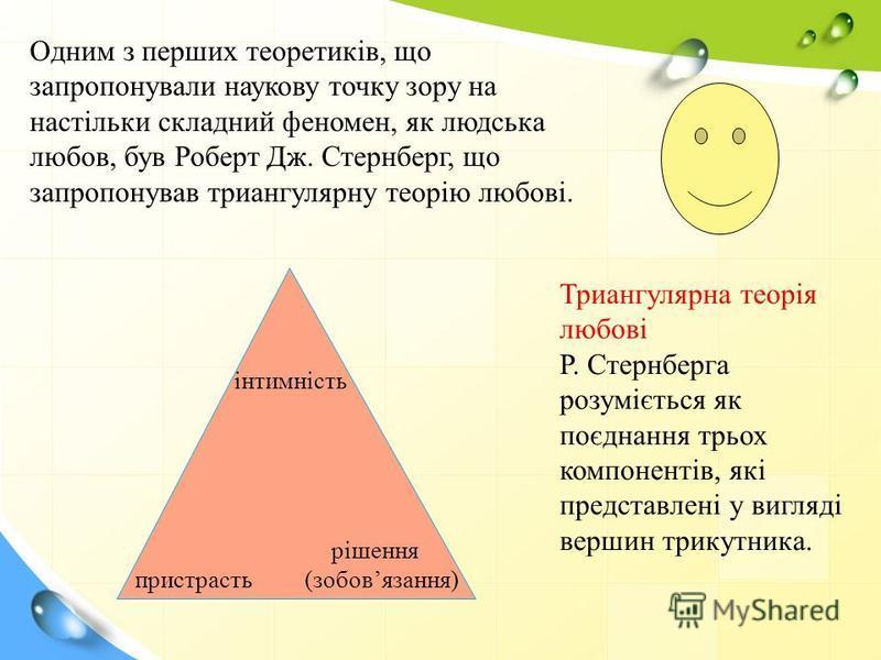 інтимність пристрасть рішення (зобовязання) Триангулярна теорія любові Р. Стернберга розуміється як поєднання трьох компонентів, які представлені у вигляді вершин трикутника. Одним з перших теоретиків, що запропонували наукову точку зору на настільки