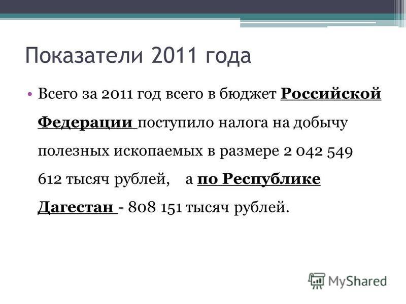Показатели 2011 года Всего за 2011 год всего в бюджет Российской Федерации поступило налога на добычу полезных ископаемых в размере 2 042 549 612 тысяч рублей, а по Республике Дагестан - 808 151 тысяч рублей.