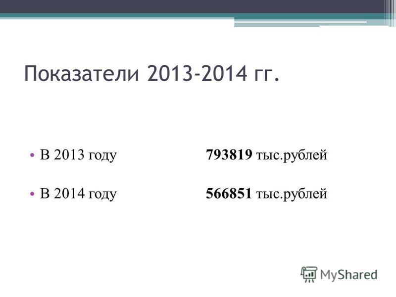 Показатели 2013-2014 гг. В 2013 году 793819 тыс.рублей В 2014 году 566851 тыс.рублей