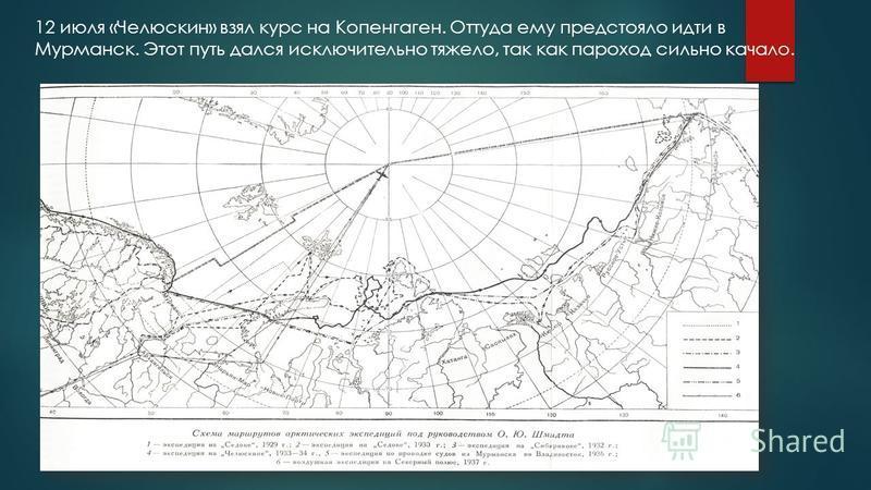 12 июля «Челюскин» взял курс на Копенгаген. Оттуда ему предстояло идти в Мурманск. Этот путь дался исключительно тяжело, так как пароход сильно качало.