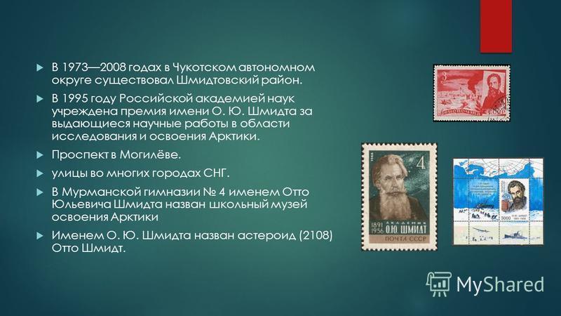 В 19732008 годах в Чукотском автономном округе существовал Шмидтовский район. В 1995 году Российской академией наук учреждена премия имени О. Ю. Шмидта за выдающиеся научные работы в области исследования и освоения Арктики. Проспект в Могилёве. улицы