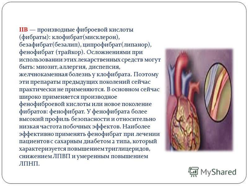 IIB производные фиброевой кислоты (фибраты): клофибрат(мисклерон), безафибрат(безалип), ципрофибрат(липанор), фенофибрат (трайкор). Осложнениями при использовании этих лекарственных средств могут быть: миозит, аллергия, диспепсия, желчнокаменная боле