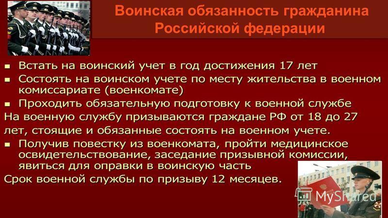Воинская обязанность гражданина Российской федерации