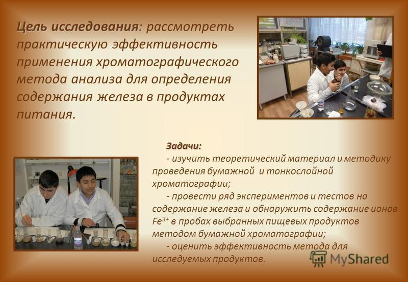 Цель исследования Цель исследования: рассмотреть практическую эффективность применения хроматографического метода анализа для определения содержания железа в продуктах питания. Задачи: - изучить теоретический материал и методику проведения бумажной и