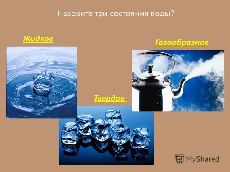 Назовите три состояния воды? Жидкое Твердое Газообразное
