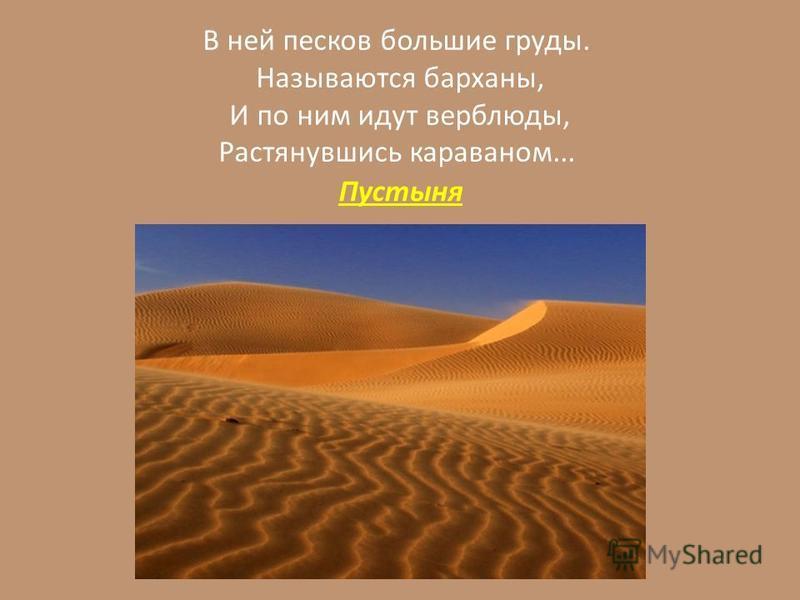 В ней песков большие груды. Называются барханы, И по ним идут верблюды, Растянувшись караваном... Пустыня