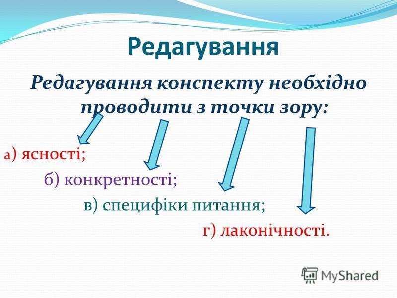 Редагування Редагування конспекту необхідно проводити з точки зору: а ) ясності; б) конкретності; в) специфіки питання; г) лаконічності.