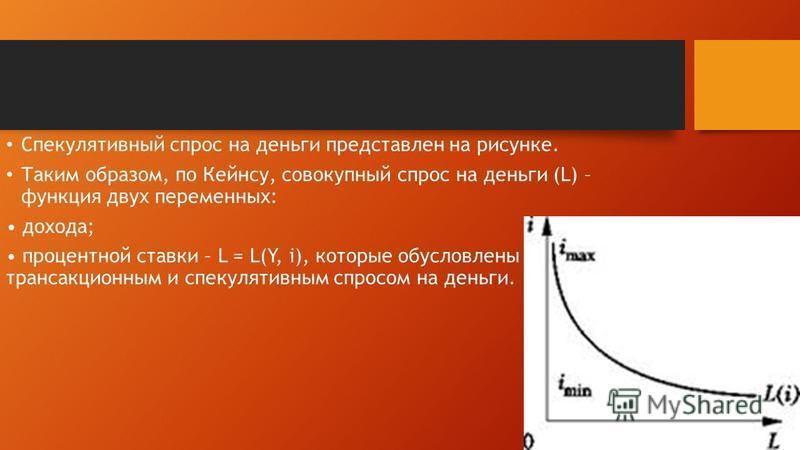 Спекулятивный спрос на деньги представлен на рисунке. Таким образом, по Кейнсу, совокупный спрос на деньги (L) – функция двух переменных: дохода; процентной ставки – L = L(Y, i), которые обусловлены трансакционным и спекулятивным спросом на деньги.