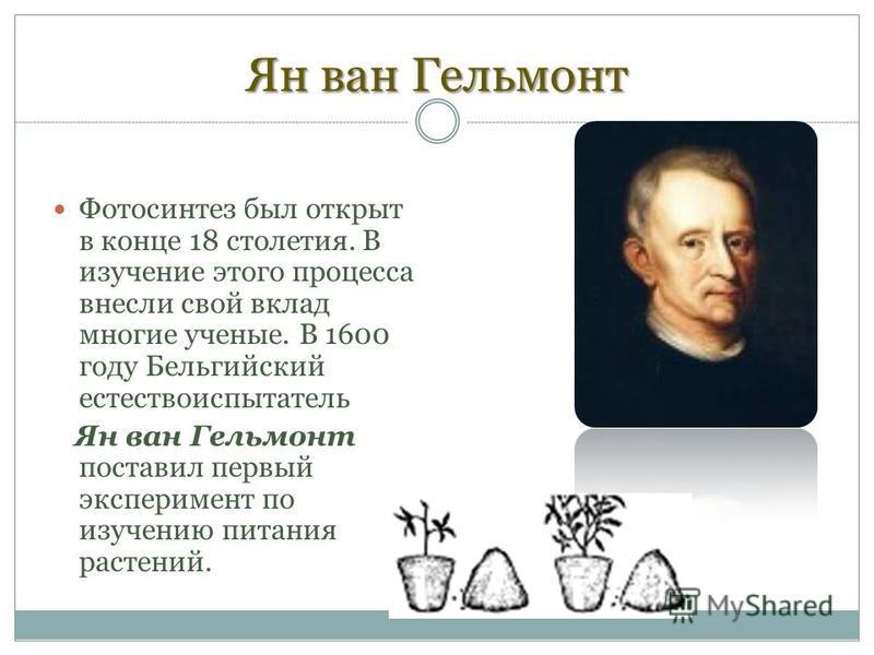 Ян ван Гельмонт Фотосинтез был открыт в конце 18 столетия. В изучение этого процесса внесли свой вклад многие ученые. В 1600 году Бельгийский естествоиспытатель Ян ван Гельмонт поставил первый эксперимент по изучению питания растений.