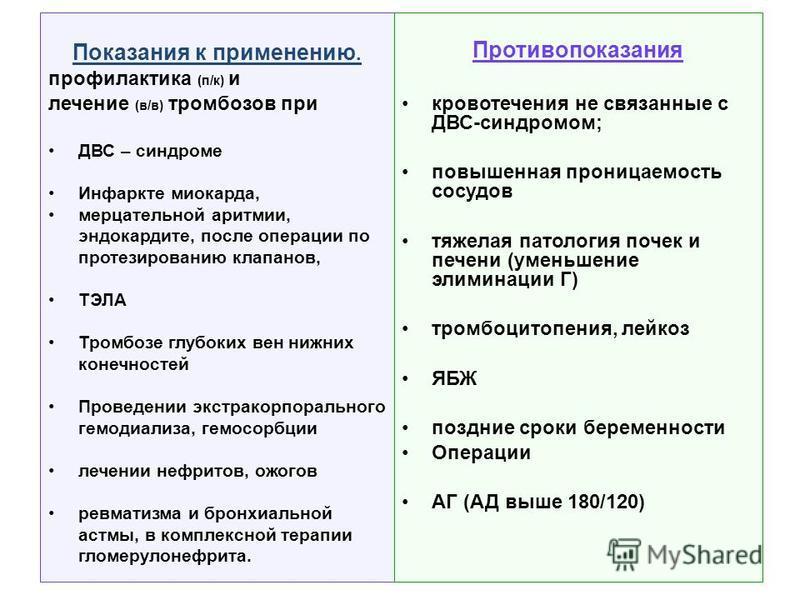 Показания к применению. профилактика (п/к) и лечение (в/в) тромбозов при ДВС – синдроме Инфаркте миокарда, мерцательной аритмии, эндокардите, после операции по протезированию клапанов, ТЭЛА Тромбозе глубоких вен нижних конечностей Проведении экстрако