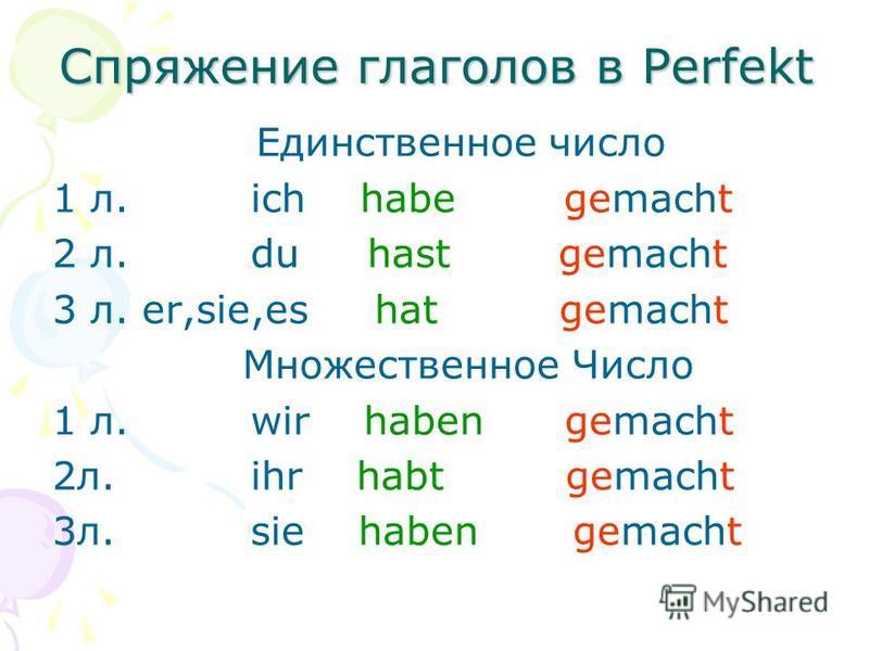 Спряжение глаголов в Perfekt Единственное число 1 л. ich habe gemacht 2 л. du hast gemacht 3 л. er,sie,es hat gemacht Множественное Число 1 л. wir haben gemacht 2 л. ihr habt gemacht 3 л. sie haben gemacht