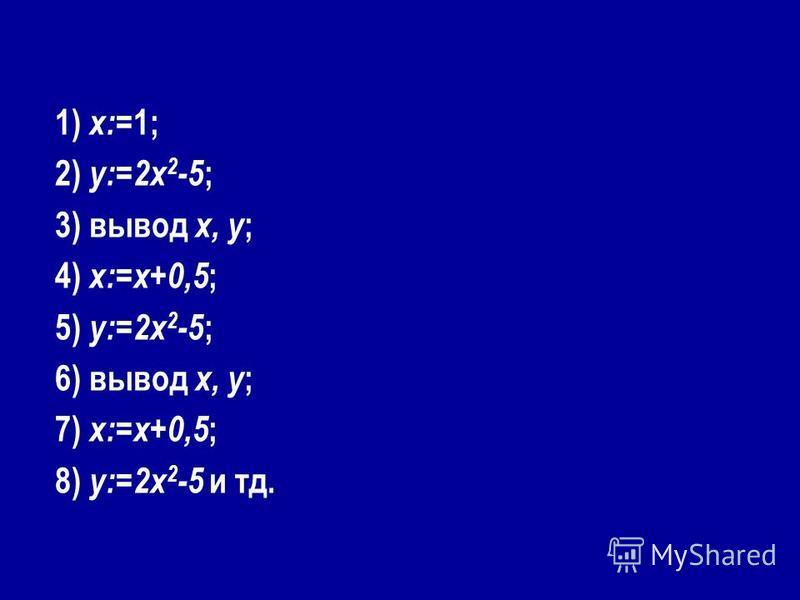 1) x:= 1; 2) y:=2x 2 -5 ; 3) вывод x, y ; 4) x:=x+0,5 ; 5) y:=2x 2 -5 ; 6) вывод x, y ; 7) x:=x+0,5 ; 8) y:=2x 2 -5 и тд.