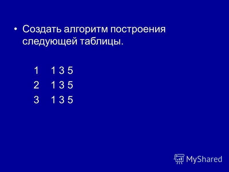 Создать алгоритм построения следующей таблицы. 1 1 3 5 2 1 3 5 3 1 3 5