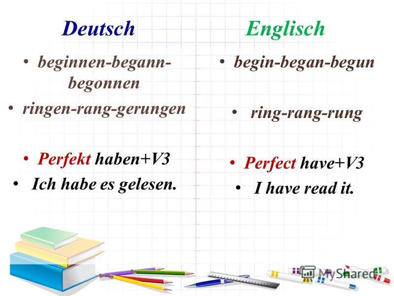 Deutsch Englisch beginnen-begann- begonnen ringen-rang-gerungen Perfekt haben+V3 Ich habe es gelesen. begin-began-begun ring-rang-rung Perfect have+V3 I have read it.