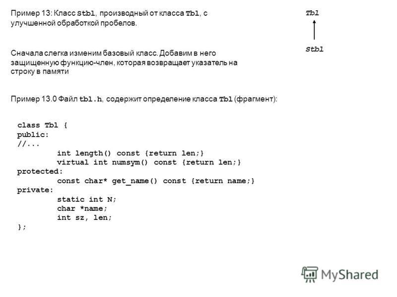 Пример 13: Класс Stbl, производный от класса Tbl, с улучшенной обработкой пробелов. Tbl Stbl Сначала слегка изменим базовый класс. Добавим в него защищенную функцию-член, которая возвращает указатель на строку в памяти Пример 13.0 Файл tbl.h, содержи