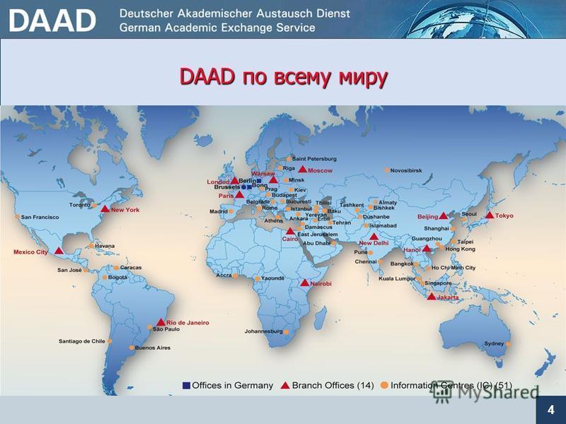посредническая организация внешней культурной политики, а также политики высшего образования и науки DAAD - это... 15 зарубежных представительств и бюро в Берлине 53 информационных центра 765 преподавателей DAAD за рубежом (в России – 39 преподавател