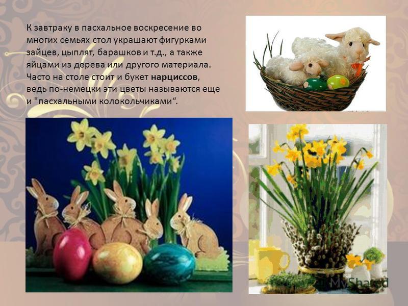 К завтраку в пасхальное воскресение во многих семьях стол украшают фигурками зайцев, цыплят, барашков и т.д., а также яйцами из дерева или другого материала. Часто на столе стоит и букет нарциссов, ведь по-немецки эти цветы называются еще и