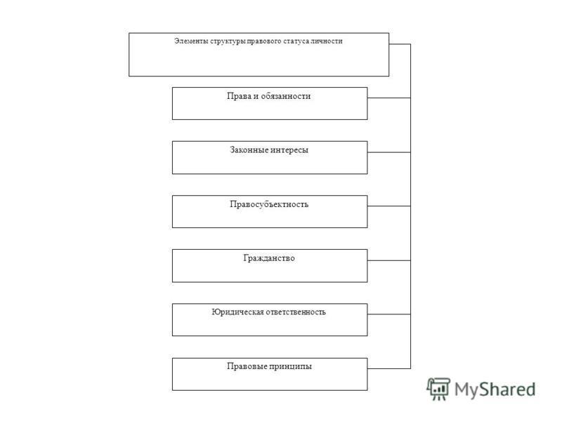 Элементы структуры правового статуса личности Права и обязанности Законные интересы Правосубъектность Гражданство Юридическая ответственность Правовые принципы