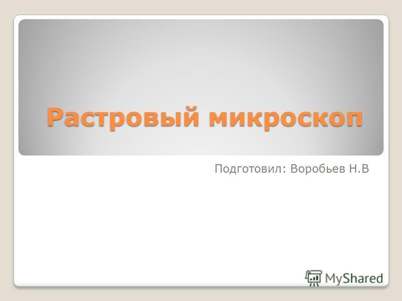 Растровый микроскоп Подготовил: Воробьев Н.В