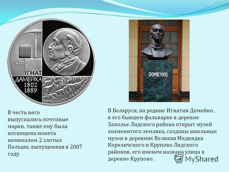 В честь него выпускались почтовые марки, также ему была посвящена монета номиналом 2 злотых Польши, выпущенная в 2007 году. В Беларуси, на родине Игнатия Домейко, в его бывшем фольварке в деревне Заполье Лидского района открыт музей знаменитого земля