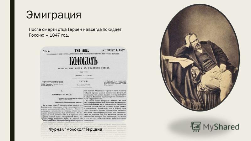 Эмиграция После смерти отца Герцен навсегда покидает Россию – 1847 год. Журнал Колокол Герцена