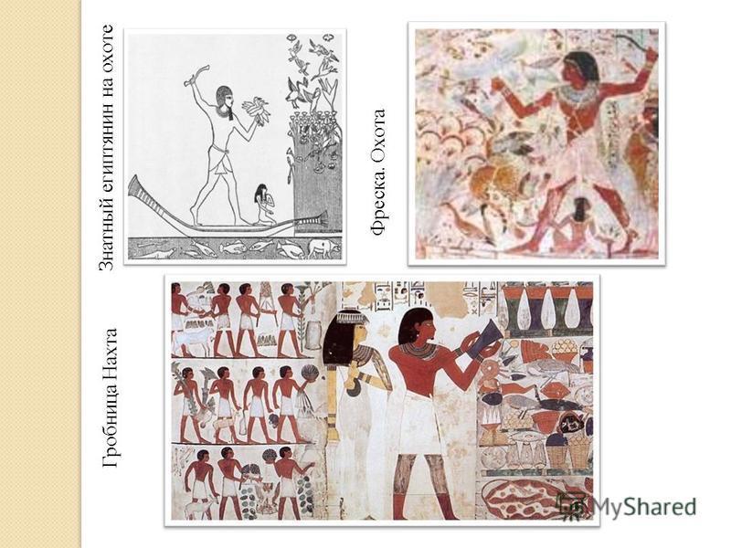 Фреска. Охота Гробница Нахта Знатный египтянин на охоте