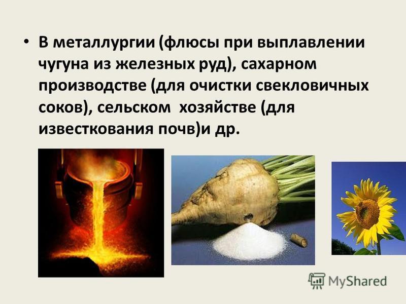 В металлургии (флюсы при выплавлении чугуна из железных руд), сахарном производстве (для очистки свекловичных соков), сельском хозяйстве (для известкования почв)и др.