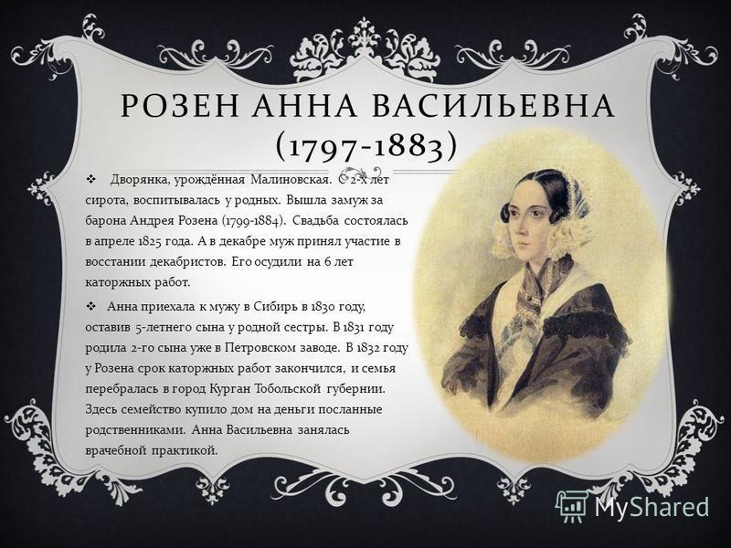 РОЗЕН АННА ВАСИЛЬЕВНА (1797-1883) Дворянка, урождённая Малиновская. С 2- х лет сирота, воспитывалась у родных. Вышла замуж за барона Андрея Розена (1799-1884). Свадьба состоялась в апреле 1825 года. А в декабре муж принял участие в восстании декабрис