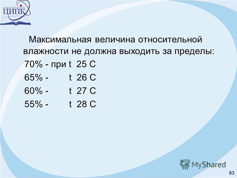 83 Максимальная величина относительной влажности не должна выходить за пределы: 70% - при t 25 C 65% - t 26 С 60% - t 27 С 55% - t 28 С
