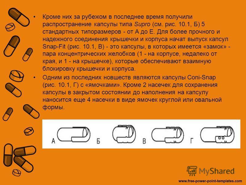 Кроме них за рубежом в последнее время получили распространение капсулы типа Supro (см. рис. 10.1, Б) 5 стандартных типоразмеров - от А до Е. Для более прочного и надежного соединения крышечки и корпуса начат выпуск капсул Snap-Fit (рис. 10.1, В) - э