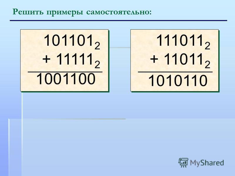 Решить примеры самостоятельно: 101101 2 + 11111 2 101101 2 + 11111 2 111011 2 + 11011 2 111011 2 + 11011 2 1001100 1010110