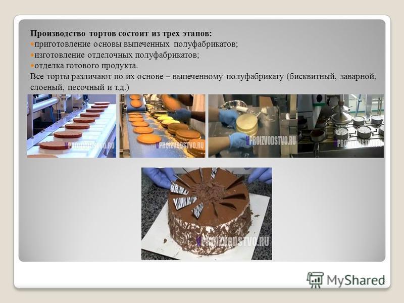 Производство тортов состоит из трех этапов: приготовление основы выпеченных полуфабрикатов; изготовление отделочных полуфабрикатов; отделка готового продукта. Все торты различают по их основе – выпеченному полуфабрикату (бисквитный, заварной, слоеный