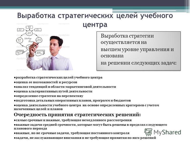Выработка стратегических целей учебного центра разработка стратегических целей учебного центра оценка ее возможностей и ресурсов анализ тенденций в области маркетинговой деятельности оценка альтернативных путей деятельности определение стратегии на п