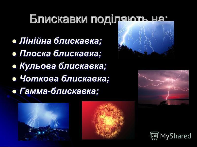 Блискавки поділяють на: Лінійна блискавка; Лінійна блискавка; Плоска блискавка; Плоска блискавка; Кульова блискавка; Кульова блискавка; Чоткова блискавка; Чоткова блискавка; Гамма-блискавка; Гамма-блискавка;