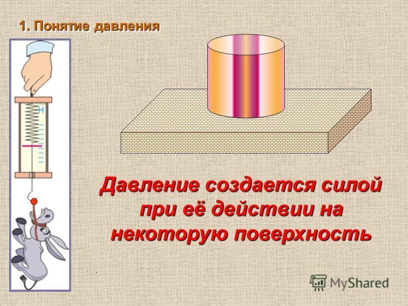 . 1. Понятие давления Давление создается силой при её действии на некоторую поверхность