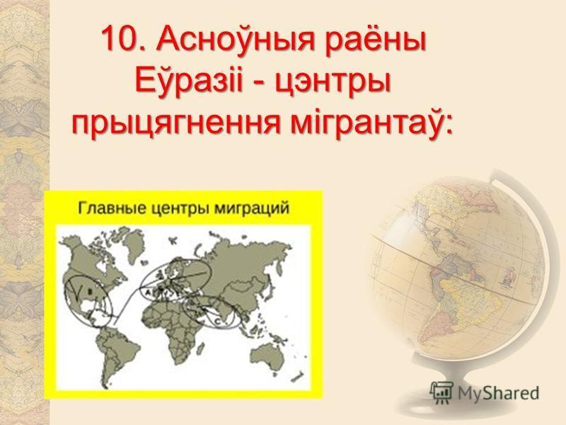 10. Асноўныя раёны Еўразіі - центры прыцягнення мігрантаў: