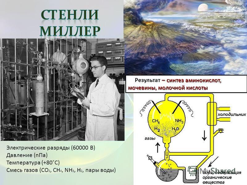 – синтез аминокислот, мочевины, молочной кислоты Результат – синтез аминокислот, мочевины, молочной кислоты Электрические разряды (60000 В) Давление (n Па) Температура (+80˚С) Смесь газов (CO 2, CH 4, NH 3, H 2, пары воды)